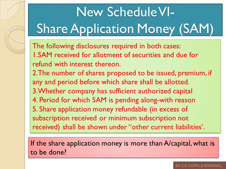 New Schedule VI- Share Application Money (SAM)