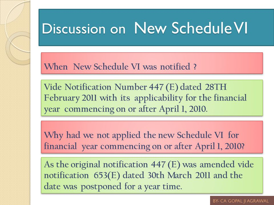 Discussion on New Schedule VI