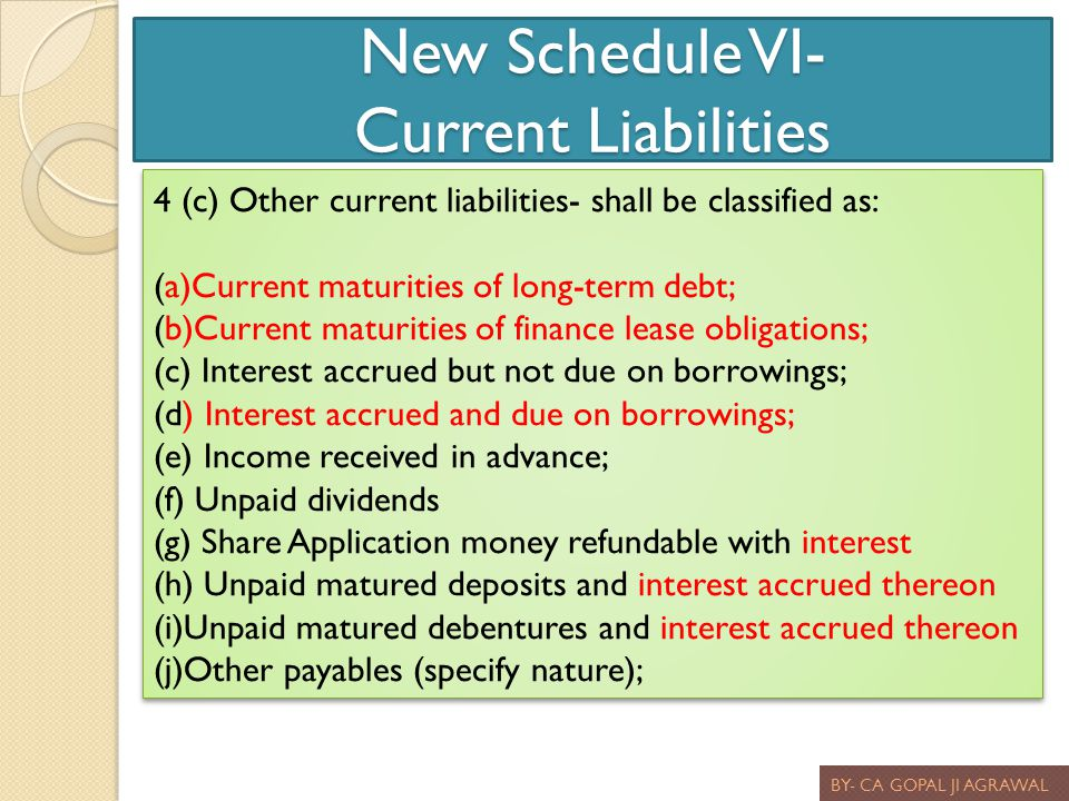 New Schedule VI- Current Liabilities