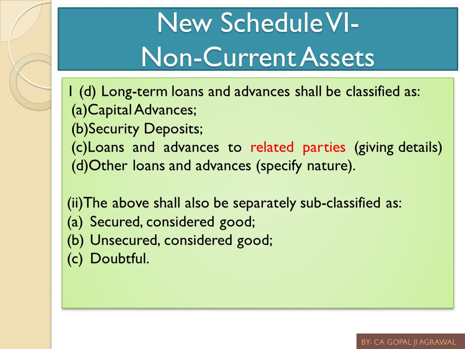 New Schedule VI- Non-Current Assets