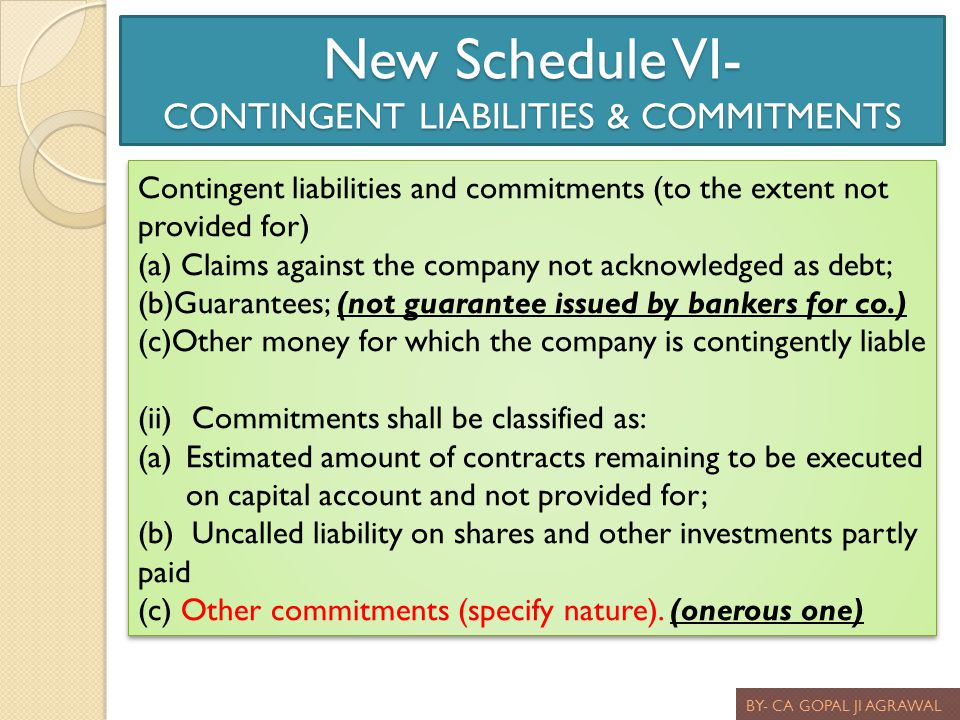 New Schedule VI- CONTINGENT LIABILITIES & COMMITMENTS