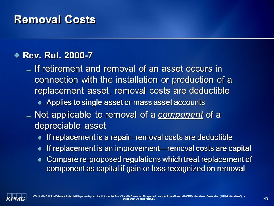 Removal Costs Rev. Rul. 2000-7.