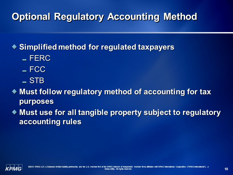 Optional Regulatory Accounting Method