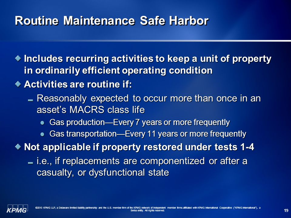 Routine Maintenance Safe Harbor