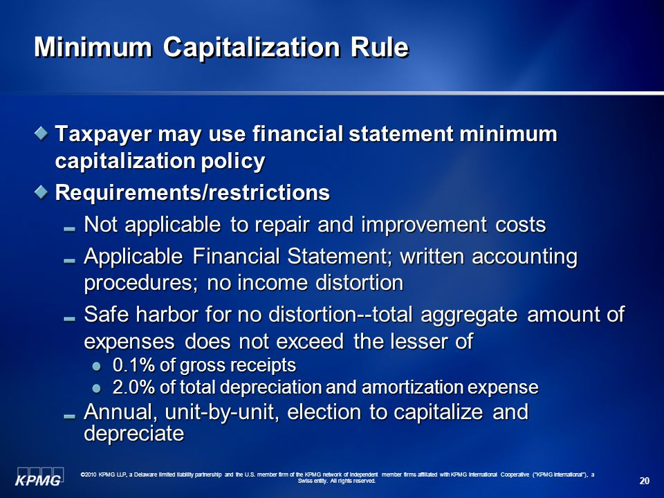 Minimum Capitalization Rule