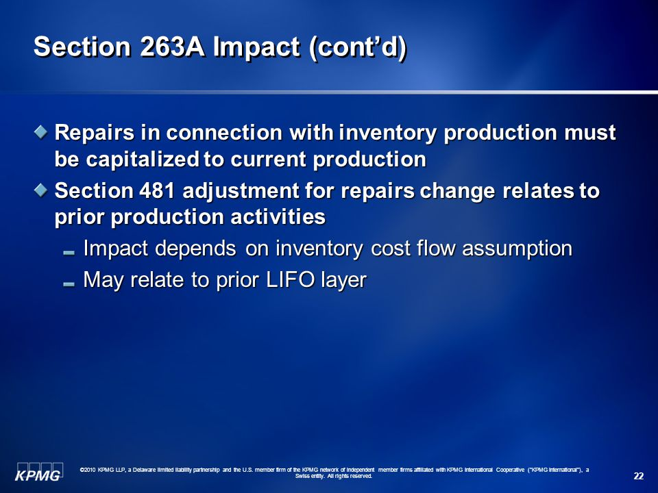 Section 263A Impact (cont'd)