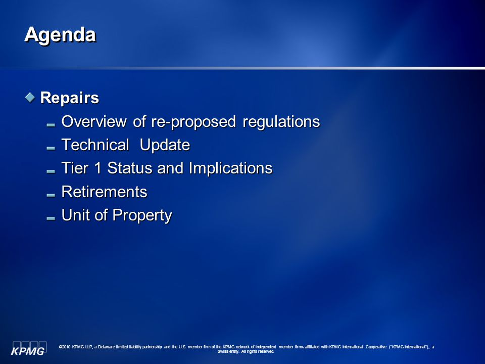 Agenda Repairs Overview of re-proposed regulations Technical Update