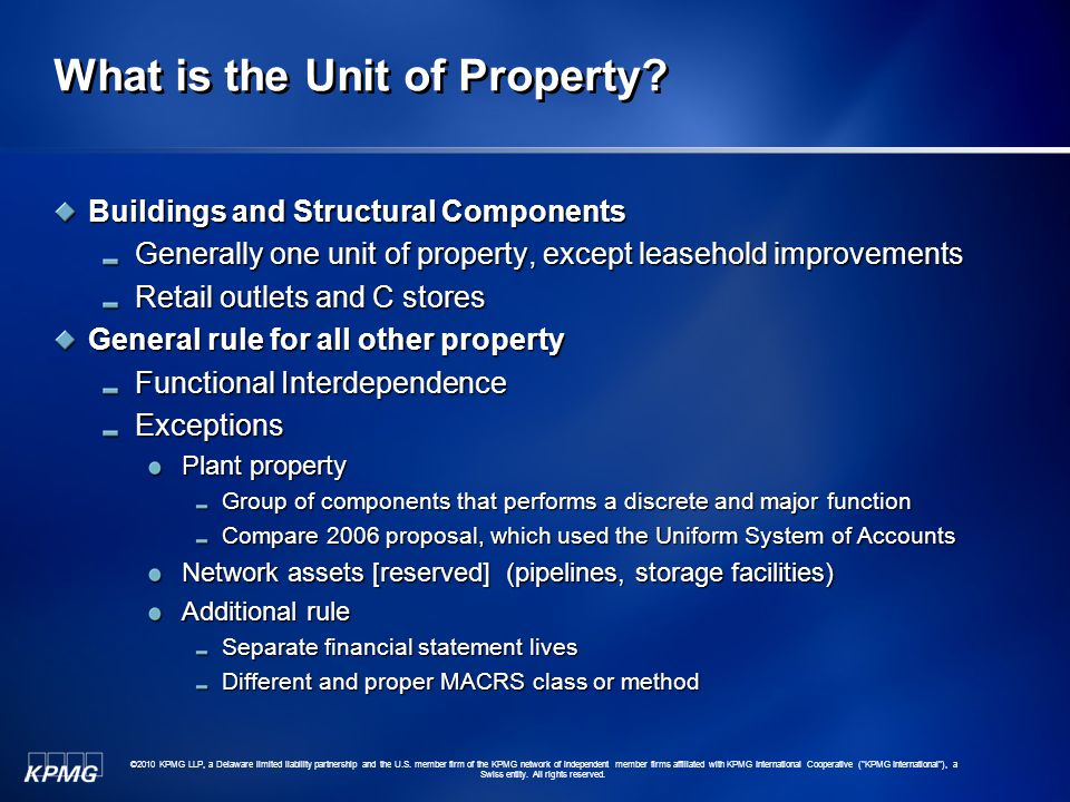 What is the Unit of Property