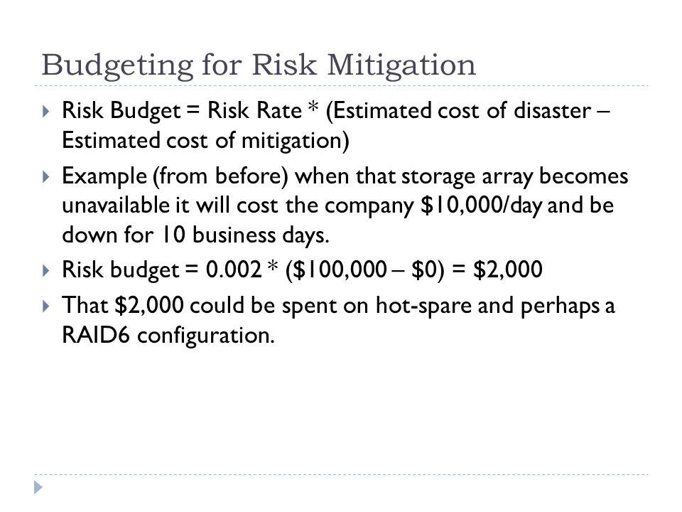 Budgeting for Risk Mitigation