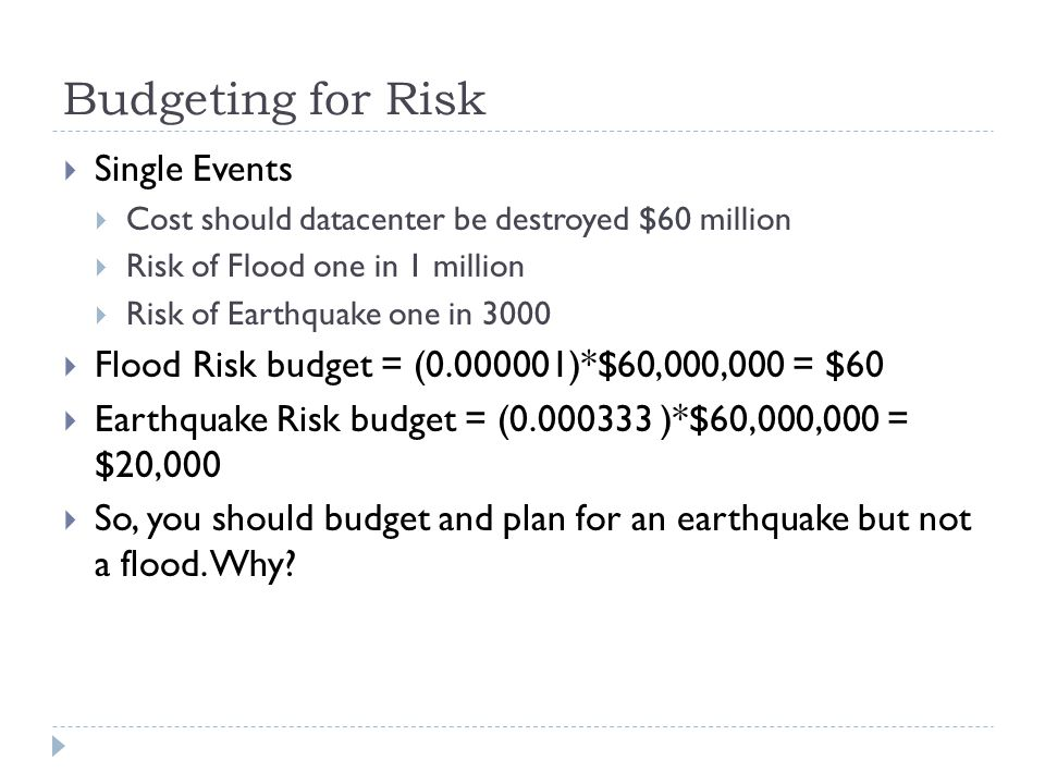 Budgeting for Risk Single Events
