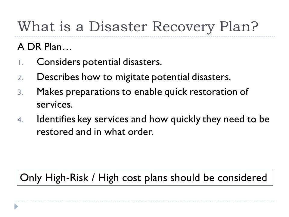 What is a Disaster Recovery Plan