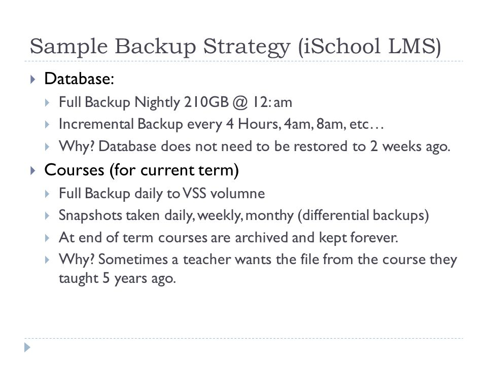 Sample Backup Strategy (iSchool LMS)