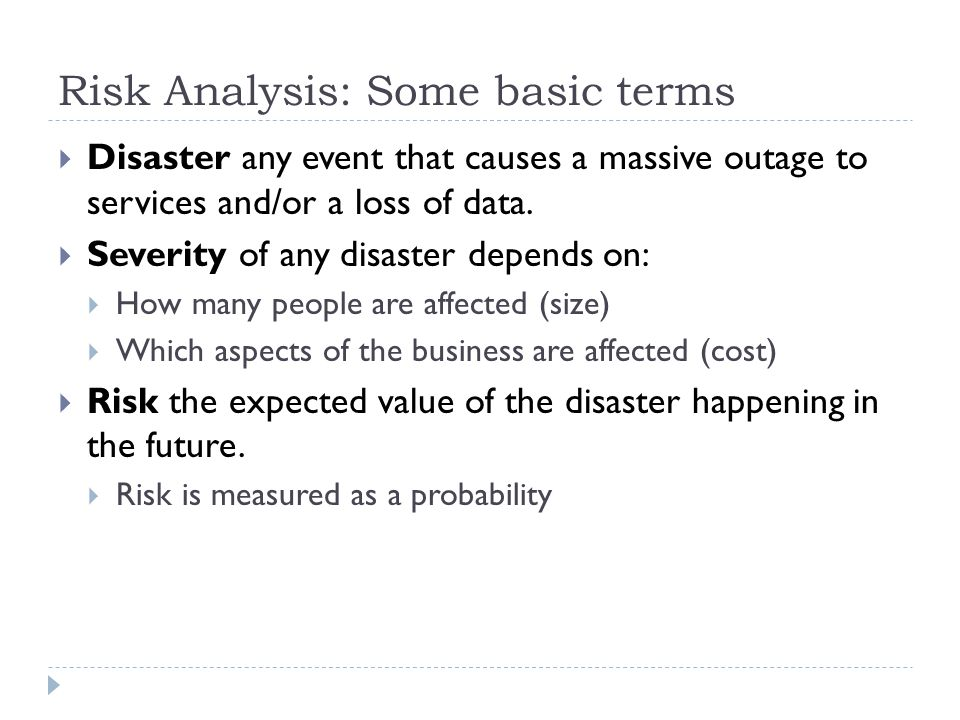Risk Analysis: Some basic terms