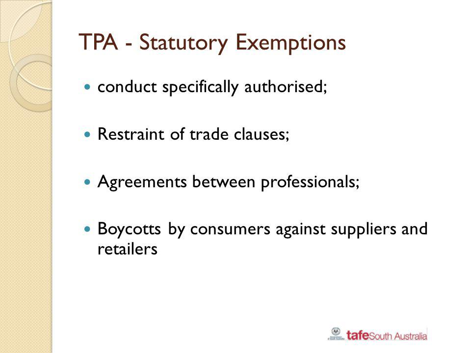 TPA - Statutory Exemptions