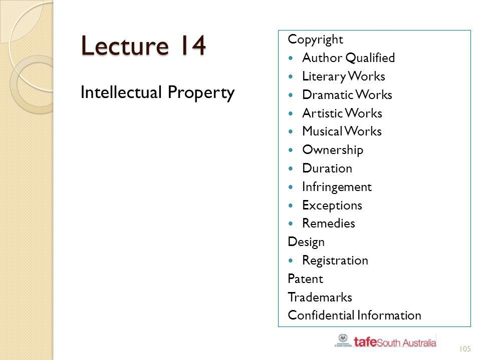 Lecture 14 Intellectual Property Copyright Author Qualified