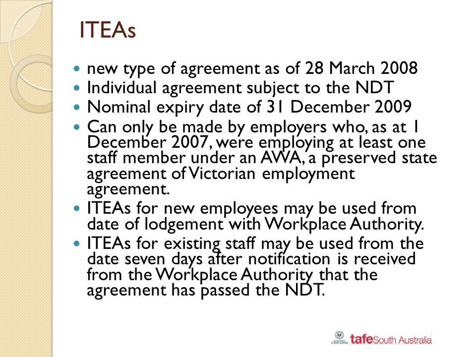 ITEAs new type of agreement as of 28 March 2008