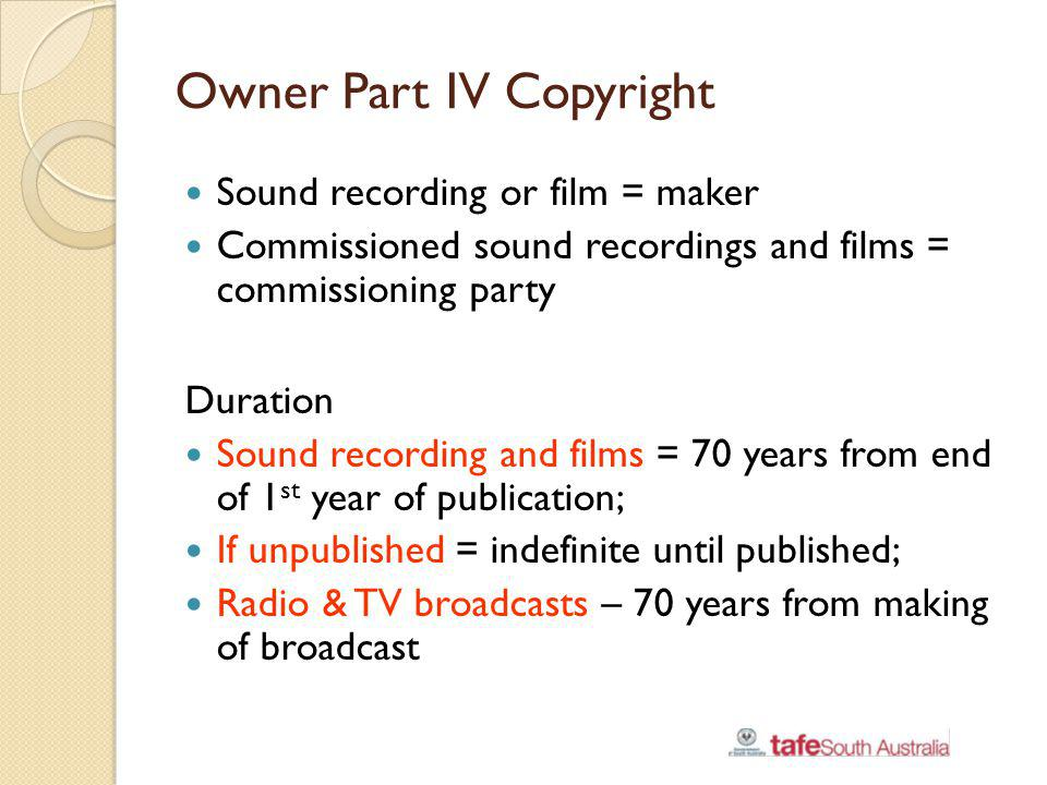 Owner Part IV Copyright