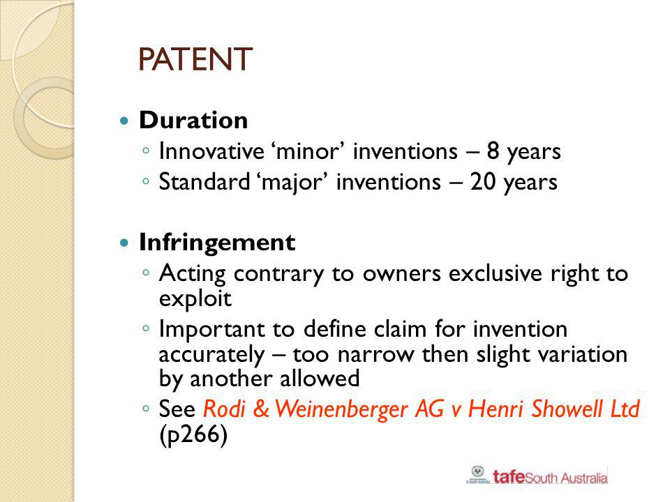 PATENT Duration Innovative 'minor' inventions – 8 years