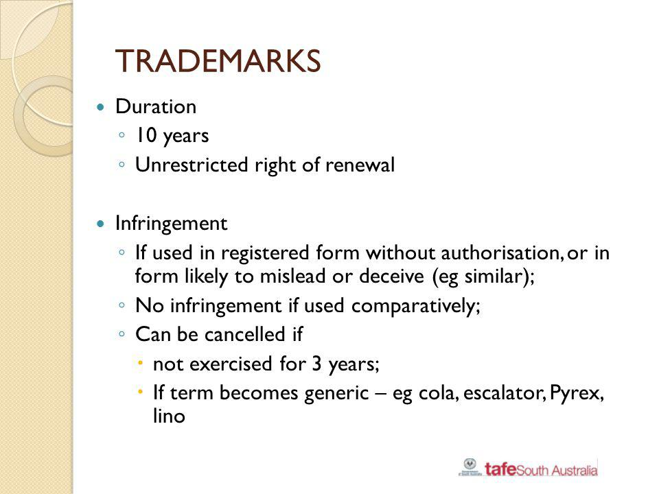 TRADEMARKS Duration 10 years Unrestricted right of renewal
