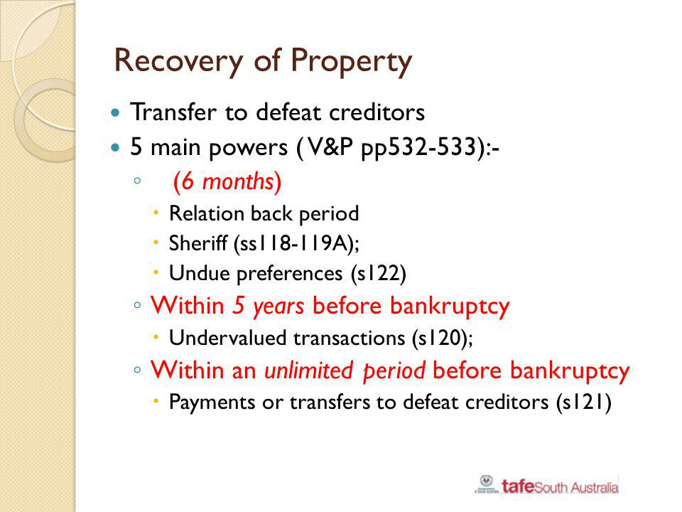 Recovery of Property Transfer to defeat creditors