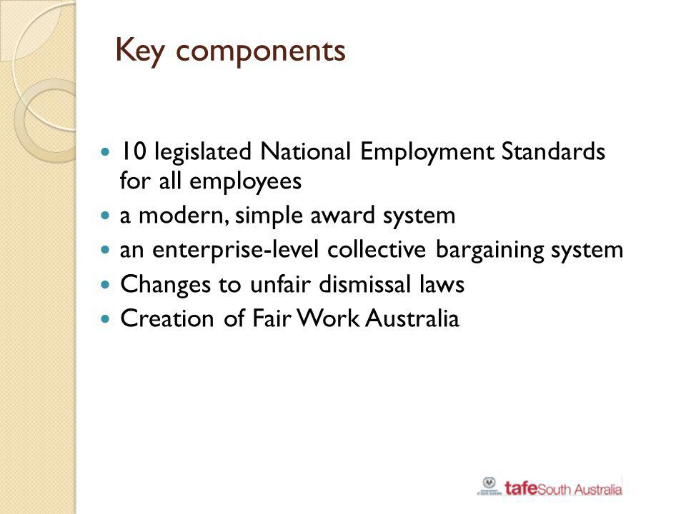 Key components 10 legislated National Employment Standards for all employees. a modern, simple award system.