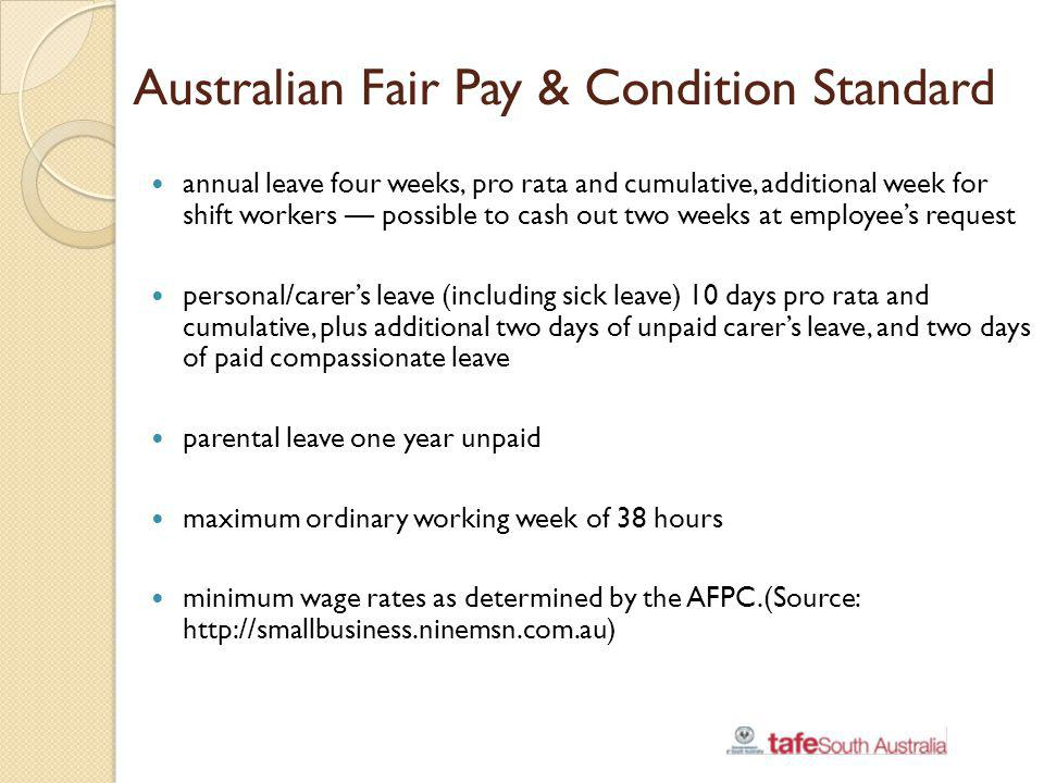 Australian Fair Pay & Condition Standard