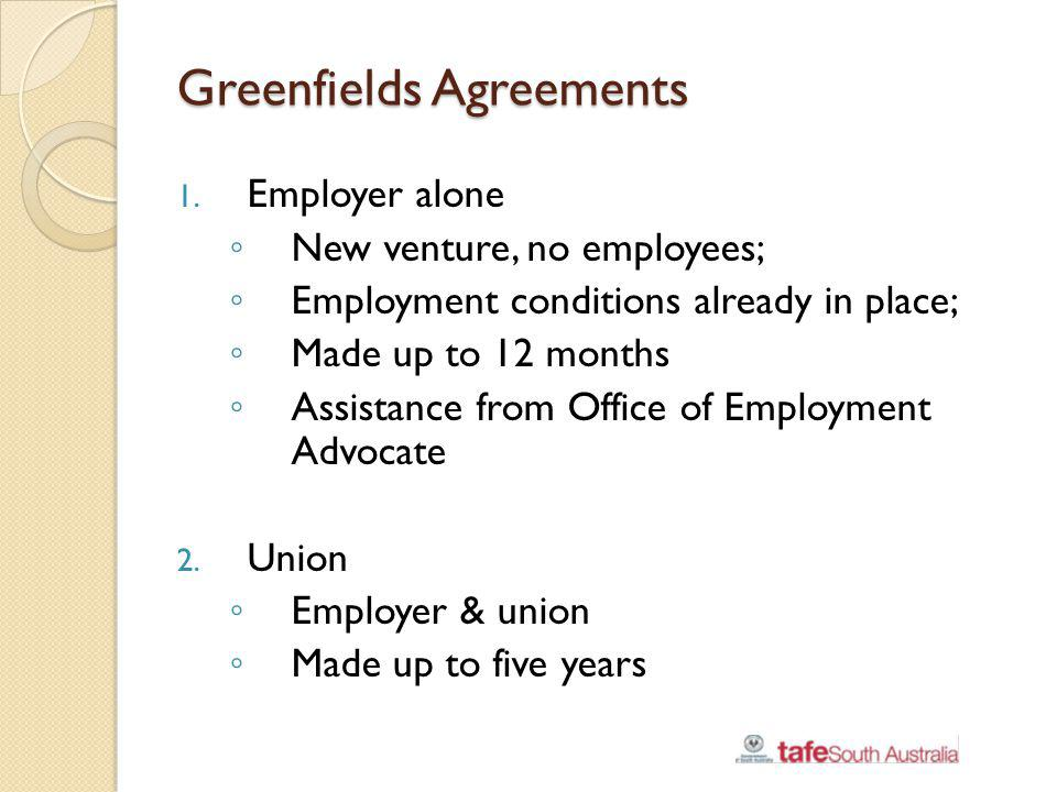 Greenfields Agreements