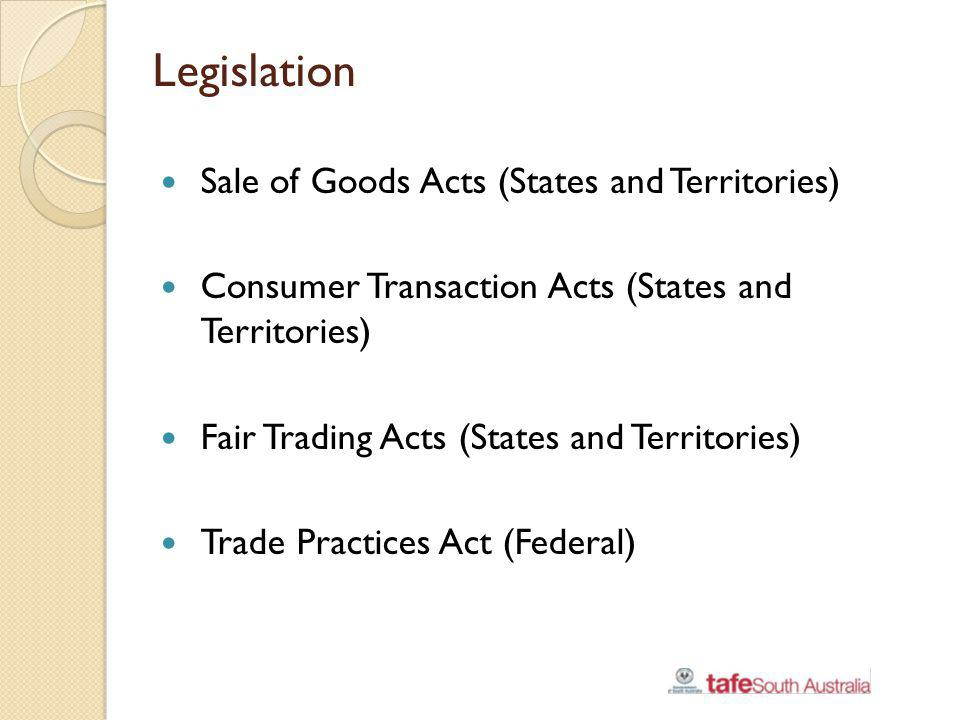 Legislation Sale of Goods Acts (States and Territories)