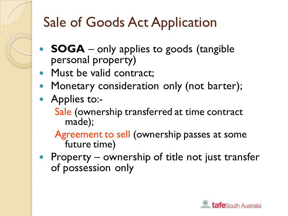 Sale of Goods Act Application