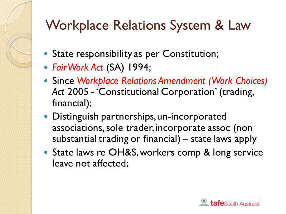 Workplace Relations System & Law