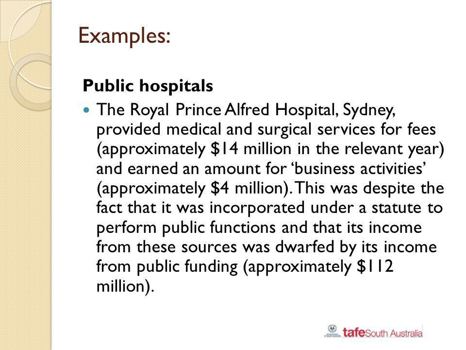 Examples: Public hospitals