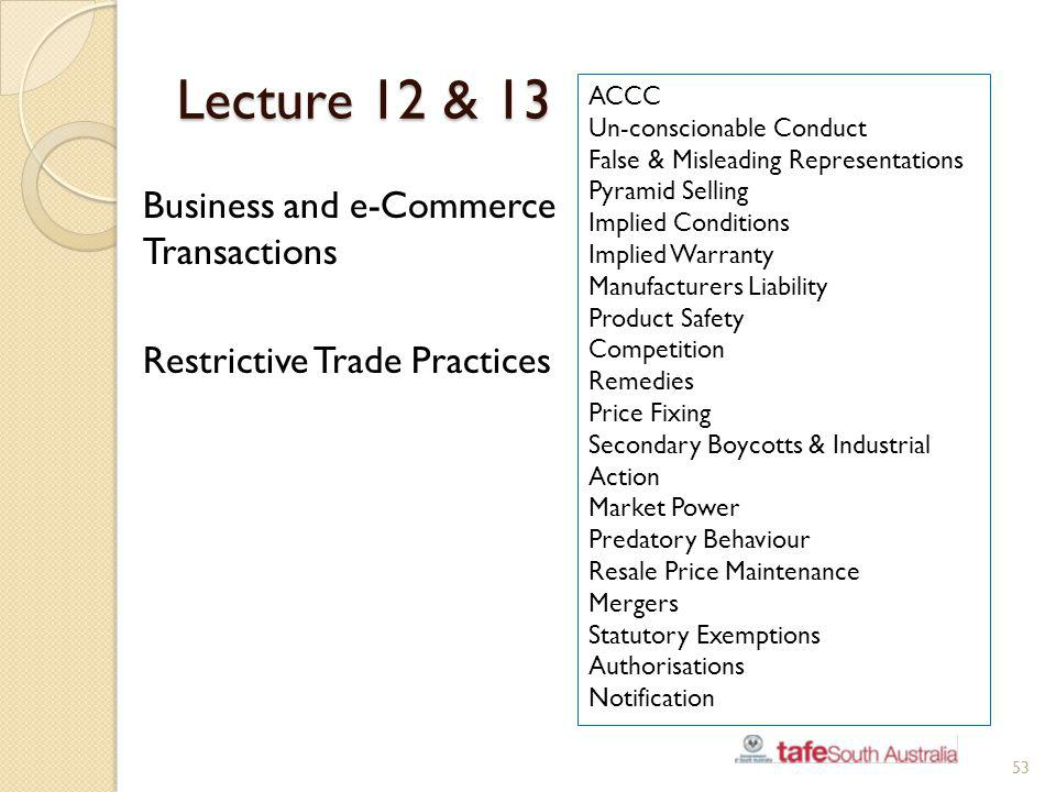 Lecture 12 & 13 Business and e-Commerce Transactions