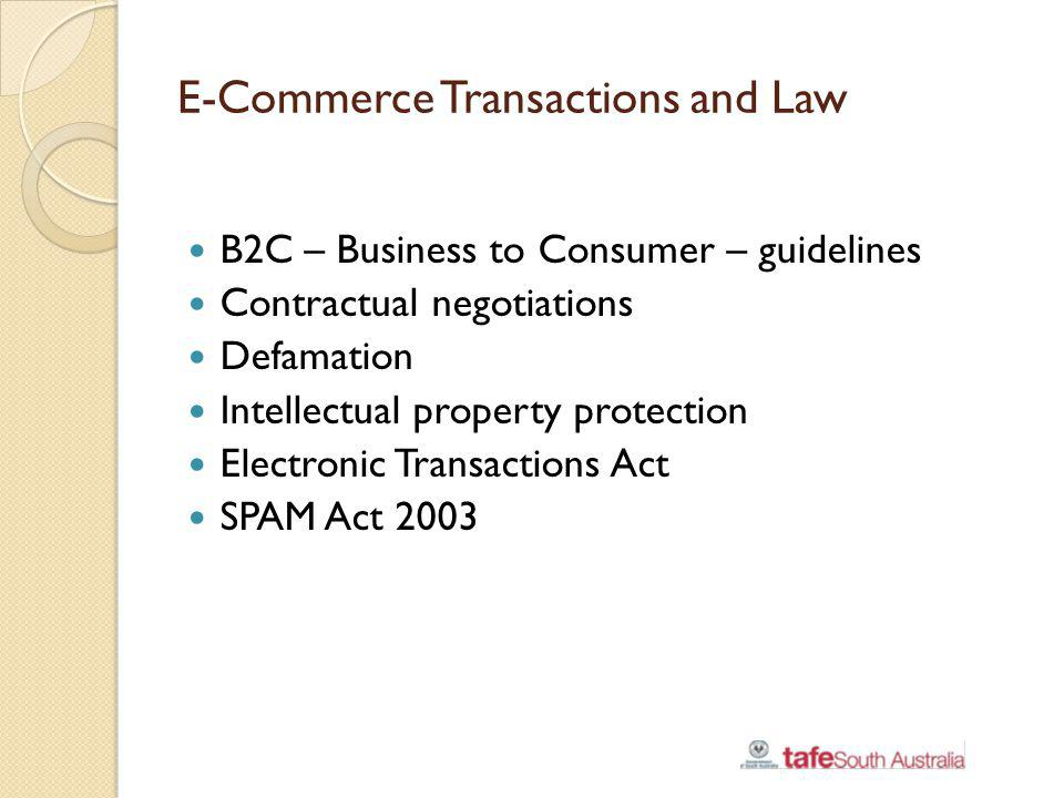 E-Commerce Transactions and Law