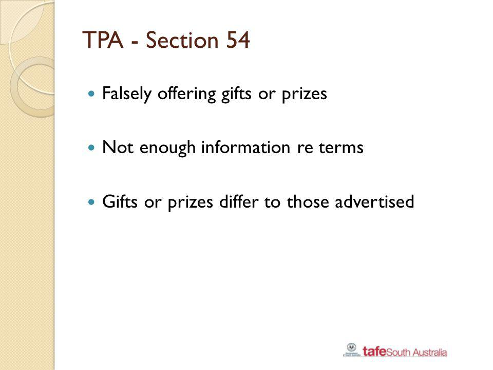 TPA - Section 54 Falsely offering gifts or prizes