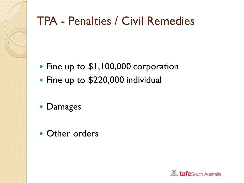 TPA - Penalties / Civil Remedies