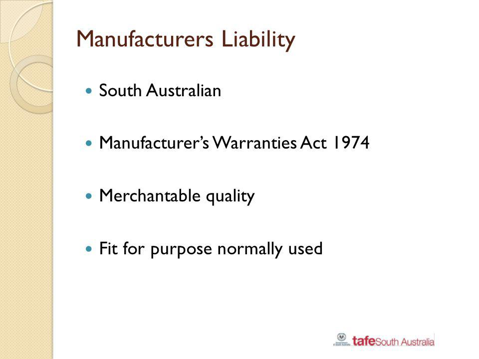 Manufacturers Liability