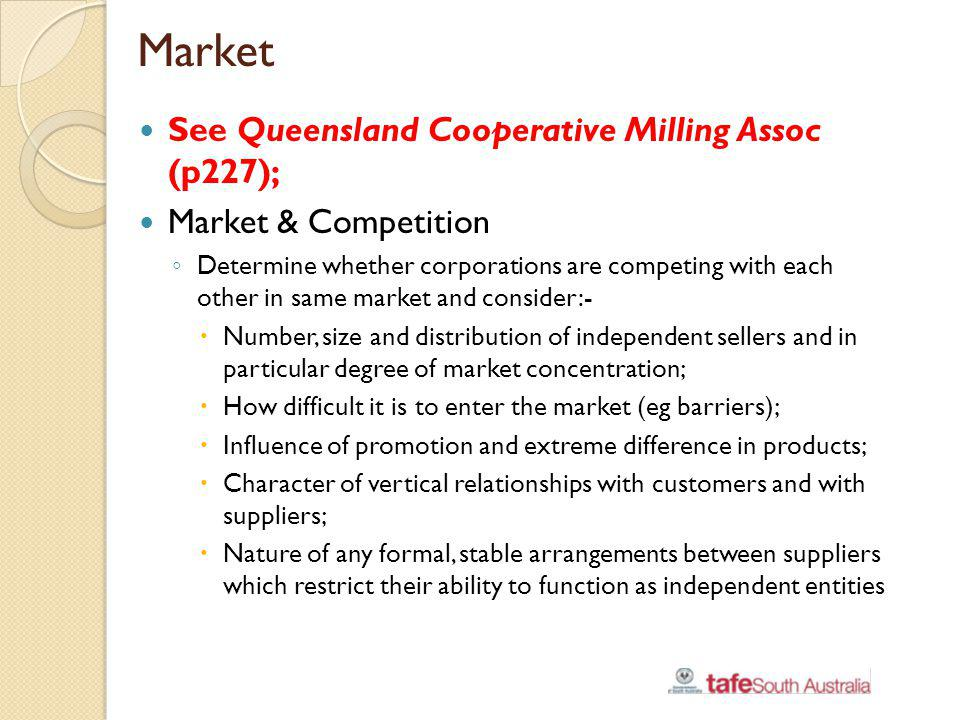 Market See Queensland Cooperative Milling Assoc (p227);