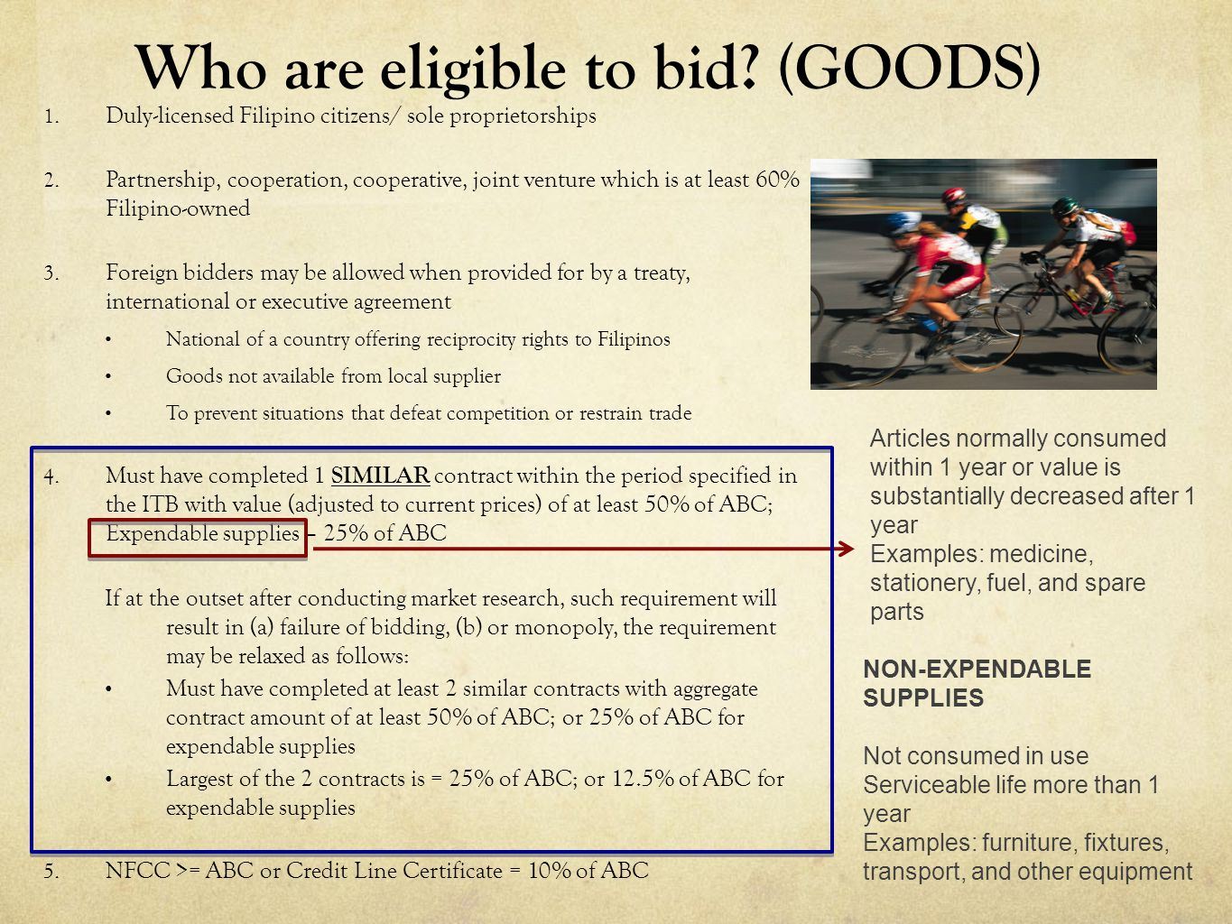 Who are eligible to bid (GOODS)