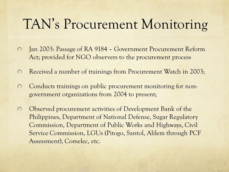 TAN's Procurement Monitoring