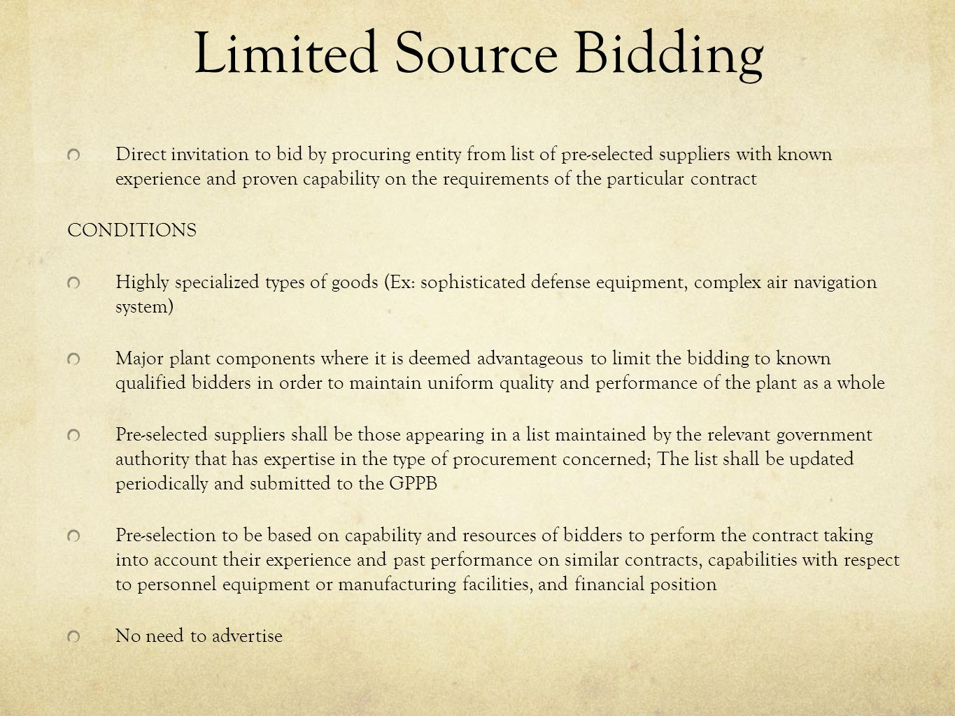 Limited Source Bidding