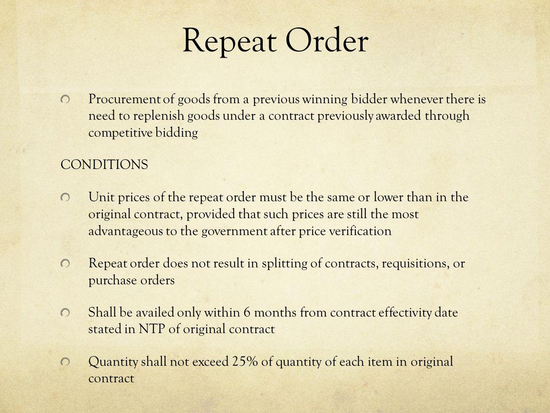Repeat Order