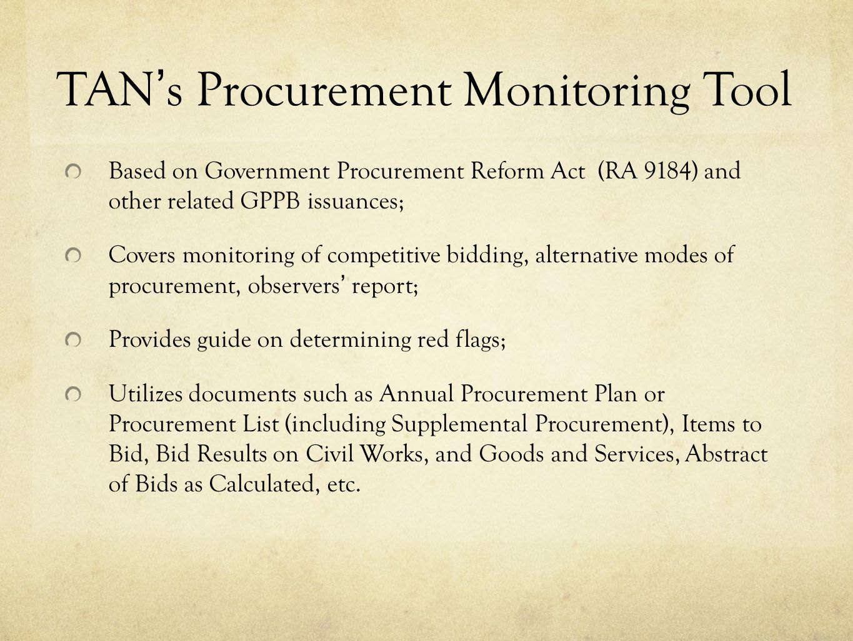 TAN's Procurement Monitoring Tool