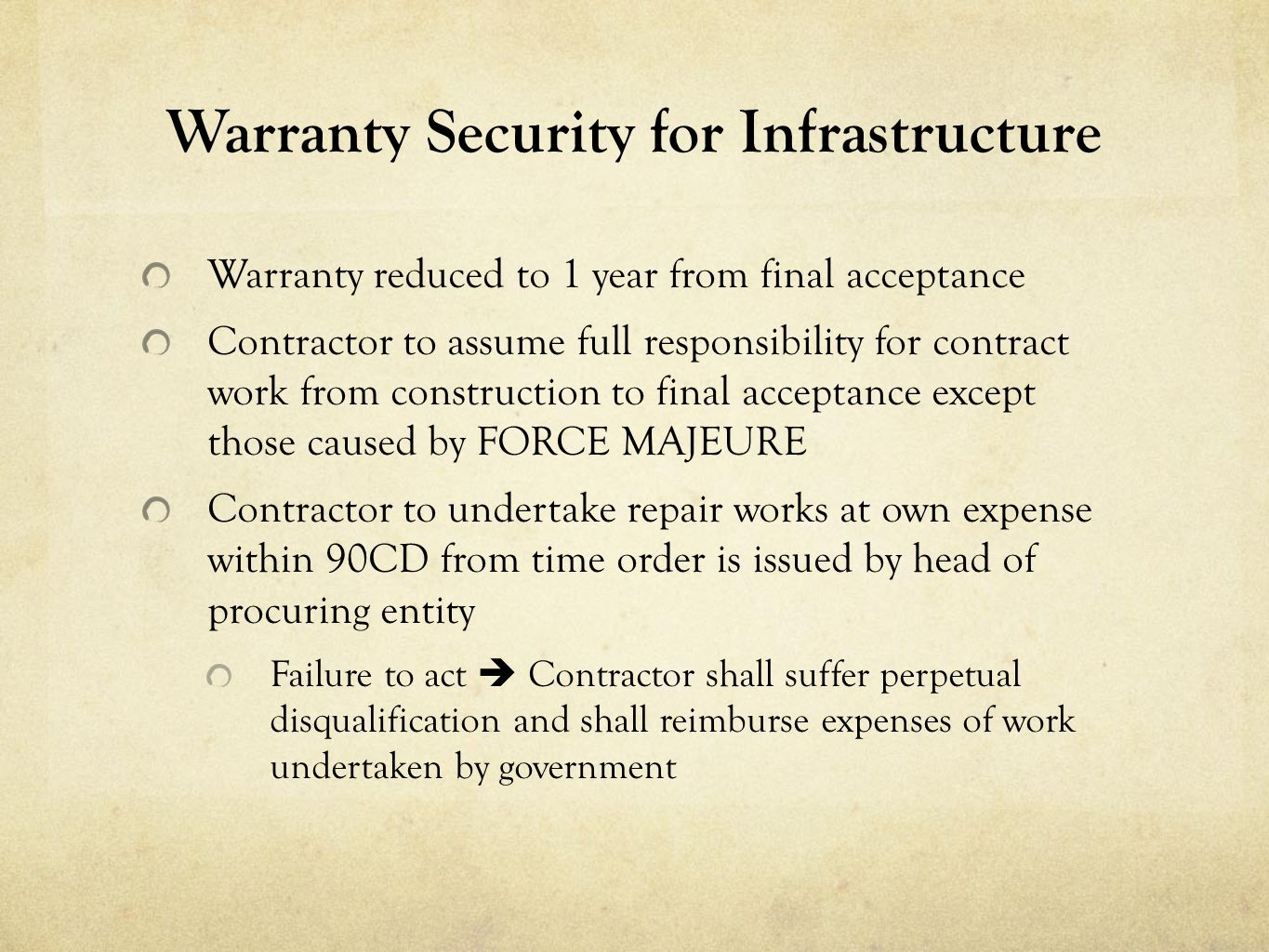 Warranty Security for Infrastructure