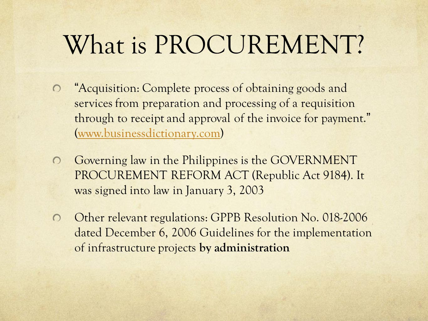 What is PROCUREMENT