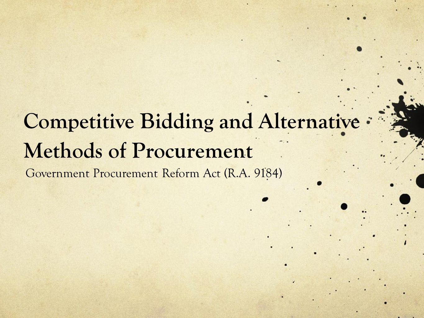 Competitive Bidding and Alternative Methods of Procurement
