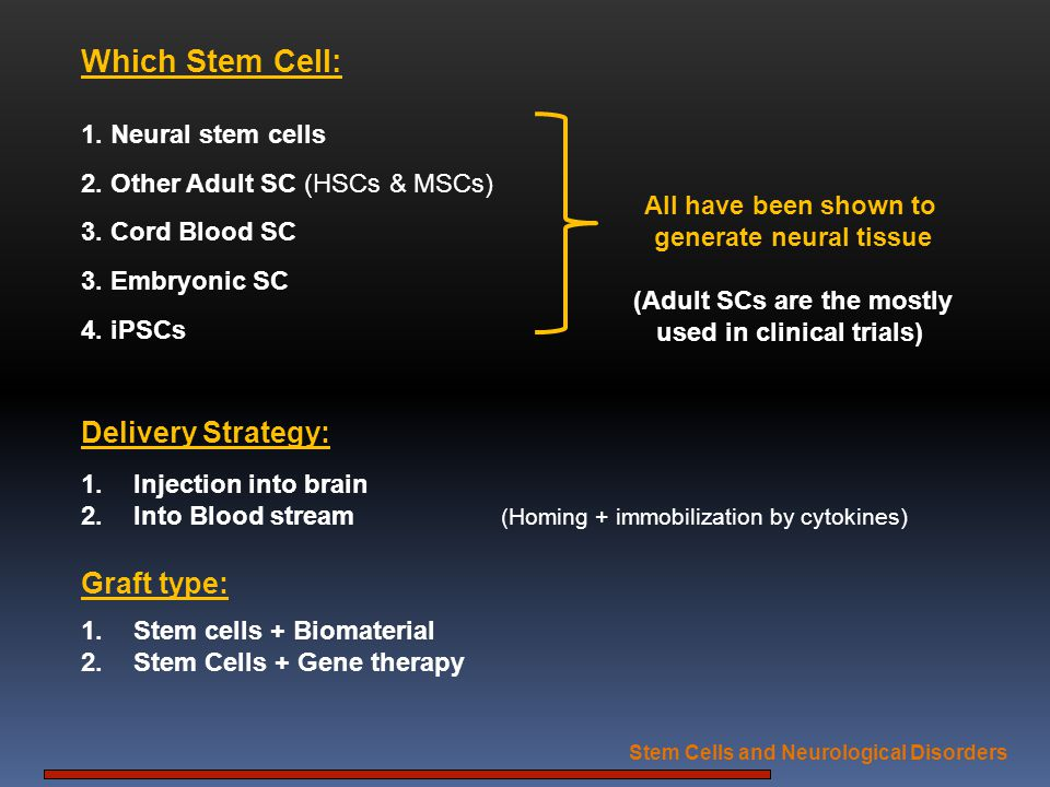 Which Stem Cell: Delivery Strategy: Graft type: 1. Neural stem cells