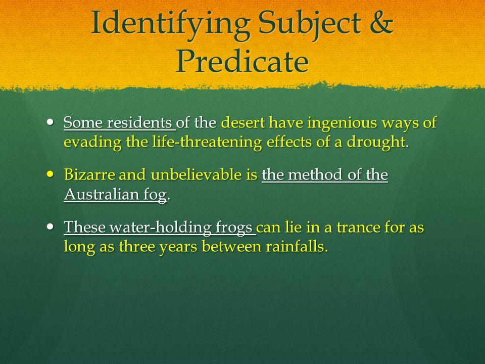 Identifying Subject & Predicate