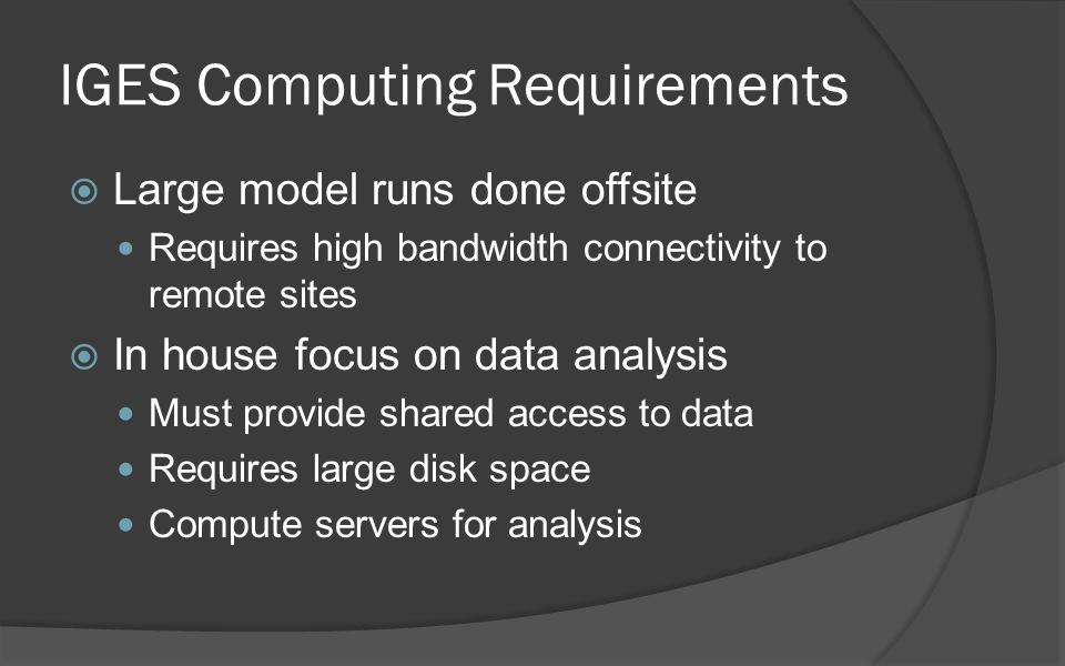 IGES Computing Requirements