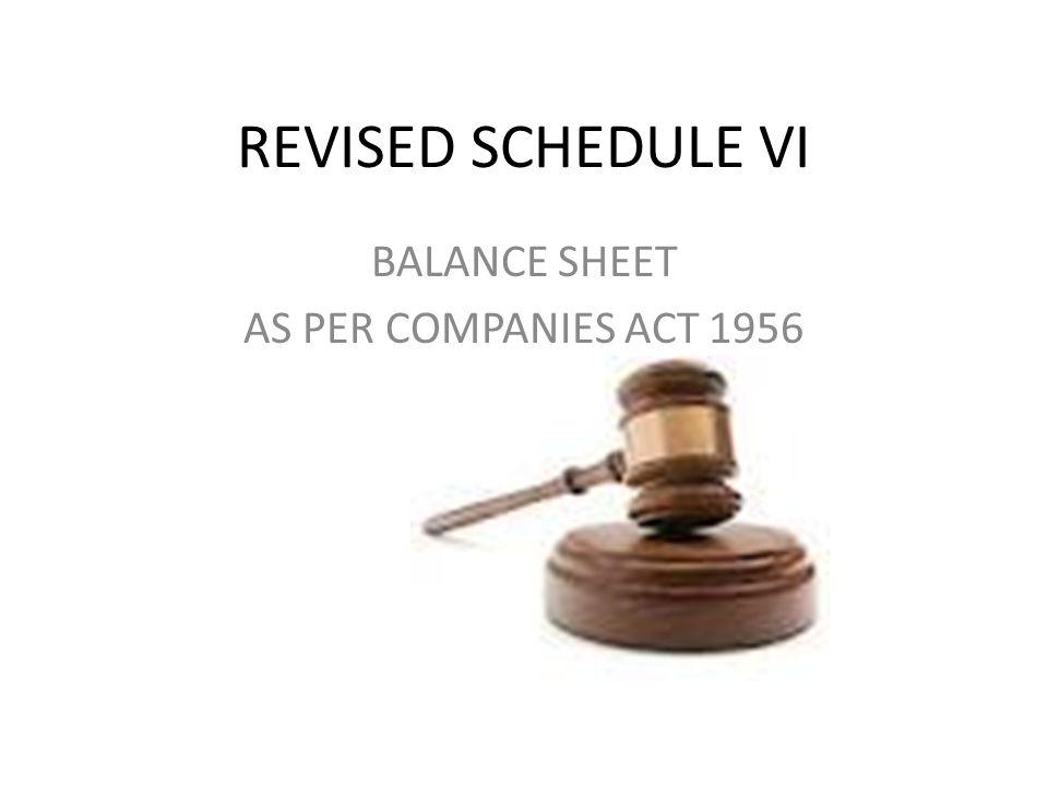 BALANCE SHEET AS PER COMPANIES ACT 1956