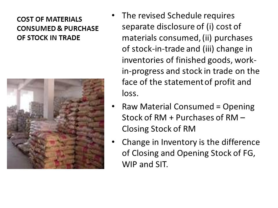 COST OF MATERIALS CONSUMED & PURCHASE OF STOCK IN TRADE